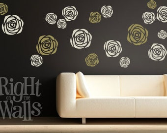 Blooming Roses Wall Decals 11pc Rose Vinyl Wall Decals Removable Wall Decor