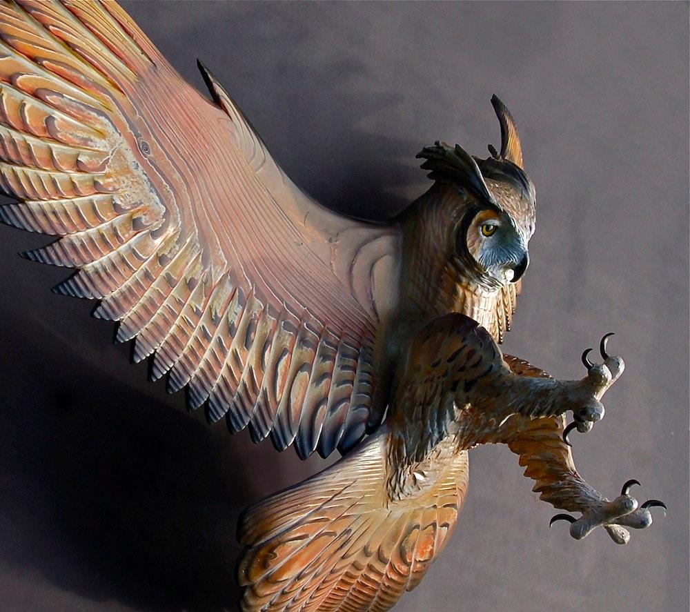 Owl wood sculpture attacking pose jason tennant