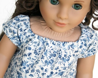 Doll Clothes fits American Girl Doll - Peasantly Perfect Ruffled Dress in China Plate Blue, Made To Order