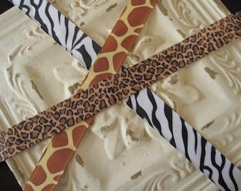 "50% OFF--7/8"" Animal Print Grosgrain Ribbon--5 yards--You CHOOSE PRINT--Zebra, Leopard, or Giraffe"