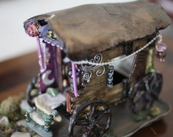 A gypies journey mixed media handcrafted whimsical wagon