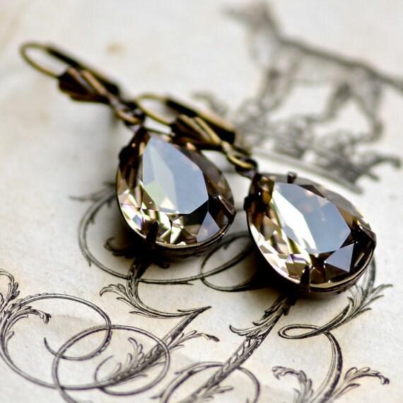 Swarovski Crystal Bridal Earrings -- Greige in Antique Brass