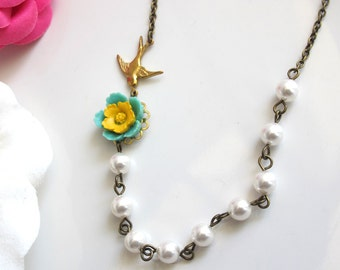 Nature Spring Green Yellow Flower, Swarovski Pearls, Gold Brass Swallow Necklace. Bridal Wedding Style. Bridesmaid Gift