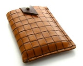 Brown Leather iPhone Case, A Handmade Leather Cell Phone Case in Brown and Caramel