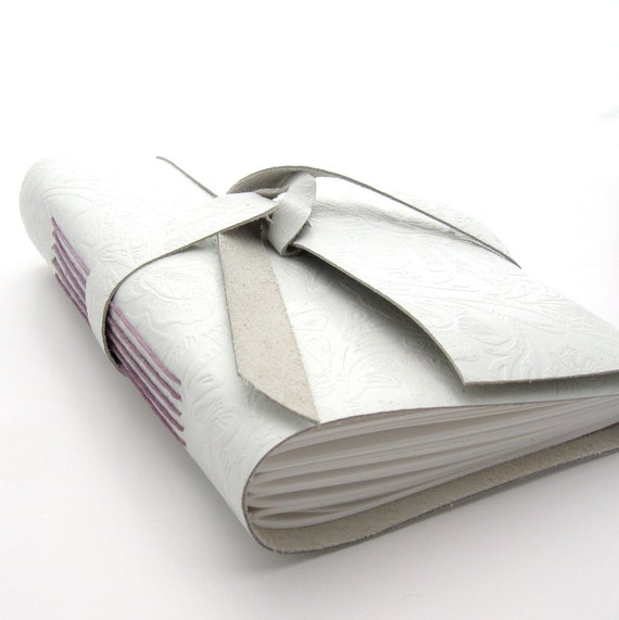 White Leather Journal and Sketchbook in Embossed White Leather with Lavender Accents