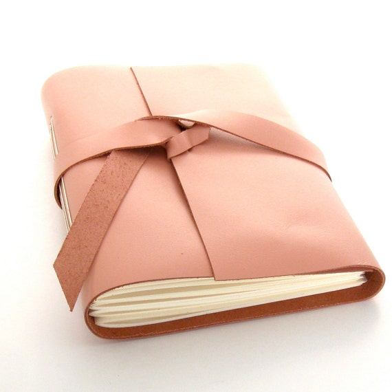 Pink Leather Journal and Sketchbook in Pink and Cream