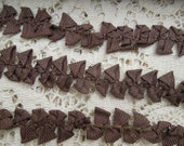 3.5 Yards Vintage Chocolate Brown Bows Lace Trim Embellishment Old Stock