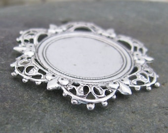 Round Flat Stone Setting Antique Silver Jewelry Finding 1323 - 6 pieces