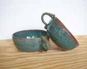 Stoneware Bowls One Handle in Sea Mist Glaze - Set of Two