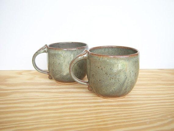 Ceramic Coffee Cups in Fog Glaze - Stoneware Pottery Mugs - Set of 2