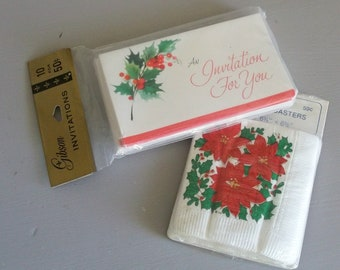 Unopened Vintage 1970s Gibson Christmas Party Invitations and Party Maid Beverage Napkins Ephemera Great Scrapbook Supplies