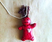 polymer clay voodoo doll pendant
