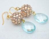 RESERVED. Rose Gold Rhinestone and Pale Aqua Blue Drop Earrings