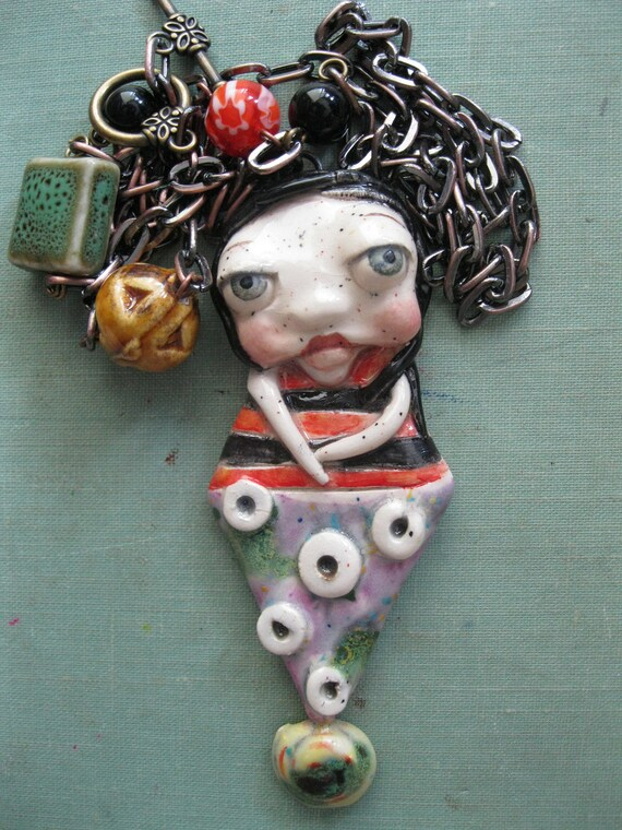 Reserved for Robyn Thayer-Crazy Girl Pendant - Handmade by Sunny Carvalho-Pmt3