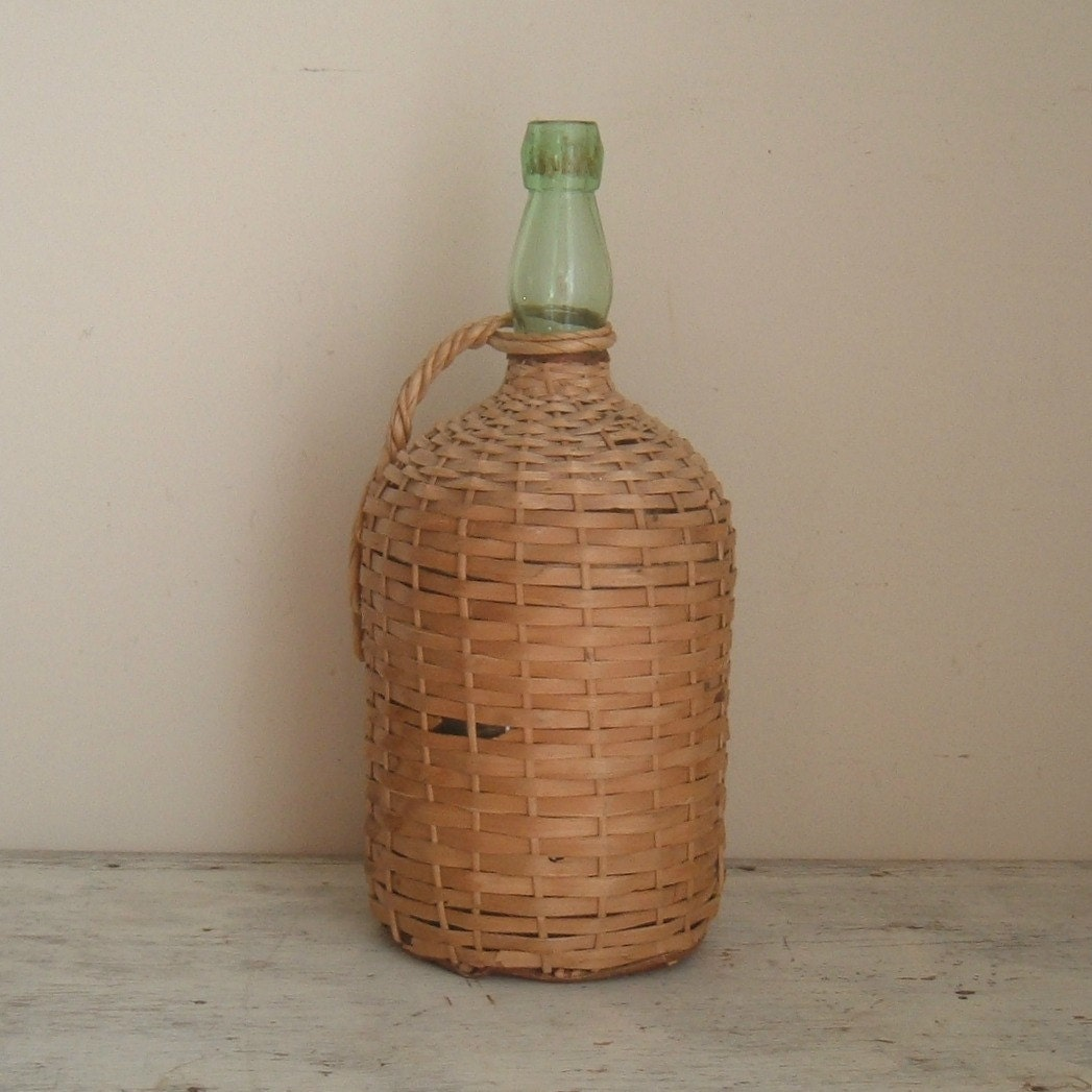 Vintage wicker covered green wine bottle for Green wine bottles