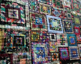 Heirloom Lap Quilt, Throw Blanket Scrappy Orphan Block Squares