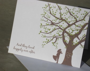 Wedding Thank Yous - Set of 25 Personalized Note Cards -  Customize with Tree Initials and Text