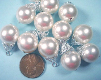 6 Vintage Faux Pearls with Silver tone Filigree Bead Caps 15mm
