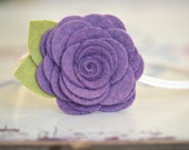 Wool Felt Flower Headband - Large Rose In Hydrangea - Skinny Elastic Headbands