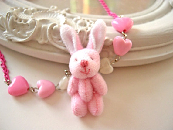Kawaii Pink  necklace Fluffy Bunny cute rabbit