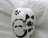 Siamese Stencil Cat Soap Dispenser or Lotion Bottle Ceramic by Grace M. Smith
