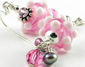 Pink Lampwork Glass Earrings with Pearl, Crystal and Sterling Silver