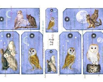 OWL  DIGITAL TAGS, Pumpkins, Moon, Stars,Owls, and Halloween, Vintage Style Instant Digital Download 7 Designs