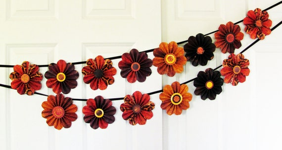 thanksgiving wall decoration, autumn decoration, fall wall decor,  paper flowers, floral garland, tribal patterns, thanksgiving  home decor