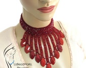 Red Beaded Carnelian, seed beads and Swarovski Necklace, PR078