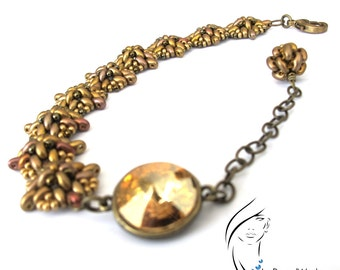 Beaded  Antiqued Gold color Twin and Bronze Seed beads Bracelet with Golden Swarovski Rivoli Connector, BR-0065