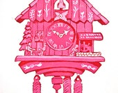 Pink Bubble Gum Cuckoo Painting- Print- Chalet in the Alps