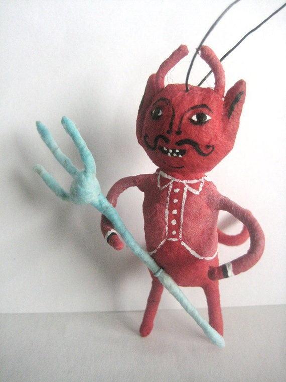 SALE Little Red Devil Spun Cotton ornament maria pahls