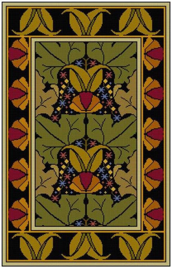 Arts And Crafts Leaves And Floral Table Rug Cross Stitch Pattern PDF