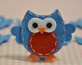 Set of 6pcs handmade felt owl--smoke blue (FT932)