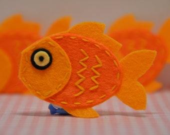 Set of 6pcs handmade felt fish--marigold (FT946)