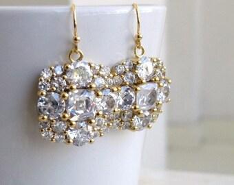 Bridal Earrings Ivanka Trump Cushion CZ Gold IE2