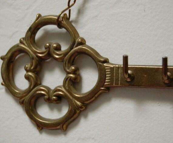 Vintage Italian 1960s Brass Key Shaped Key Hanger