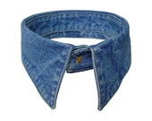 Denim Collar Necklace Upcycled Detachable Collar Blue