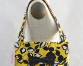 Messenger Bag Black and White Leaves on Yellow Cross Body Bag Purse