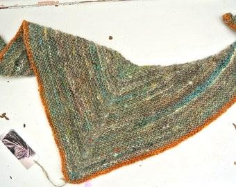 Kerchief scarf // ecoethical handknit mini-shawl wih orange trim and handspun art yarn body in multi