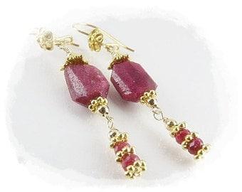 Ruby Gemstone Earrings (Wisteria) by Gonet Jewelry Design