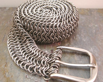 Stainless Steel Chainmaille Belt Euro 6-1, European 6 in 1 Chainmail Belt