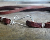 Soft supple Leather Necklace - Handforged sterling silver clasp, Your choice of length & color