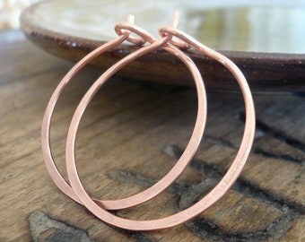 1 inch Cooper Hoops - Handmade. Handforged