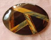 Rainbow Obsidian/Blue & Gold Tiger Eye Belt Buckle (Art Deco)