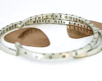WILLIE NILE One GUITAR lyrics - Musician Lyric Bracelet - 4-sided skinny cuff bracelet - Song Lyric Art - One Guitar - Light of Day