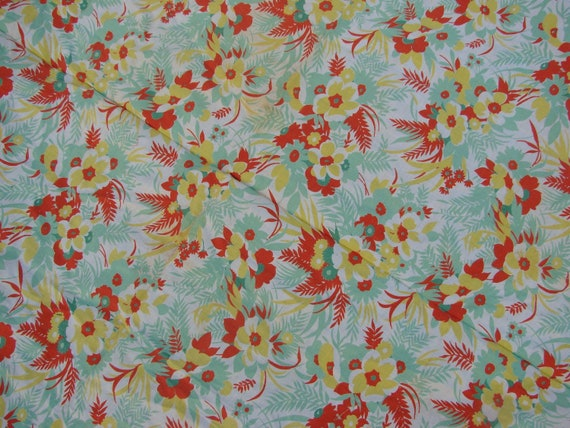 Vintage VIvid Green Orange and Yellow Floral Print Feed Sack Fabric