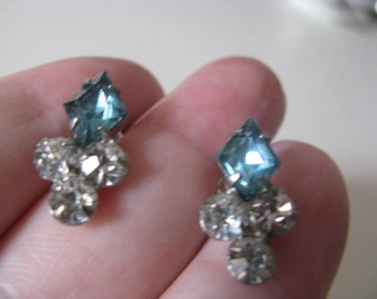 Rhinestone vintage earrings, converted to pierced