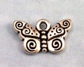 Spiral Butterfly Charm, TierraCast Pewter, Antique Silver 2 Pc. TS6