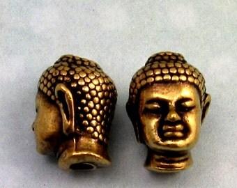 Buddha Head Bead, Brass Ox, Large Hole 2 Pc. TB21